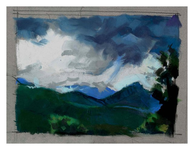 Summer storm over Sharptop study